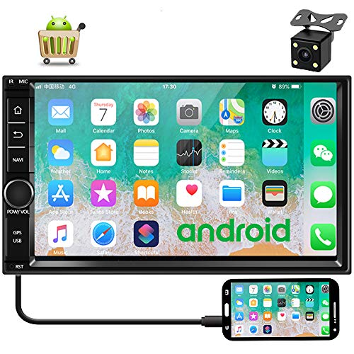 Camecho Android 9.0 Car Stereo 7 inch Double Din Car Radio 1G/16G GPS Navi 1080P Touch Screen Head Unit Built-in Bluetooth/FM/WiFi Support iOS/Android Phones Mirror Link + Backup Camera