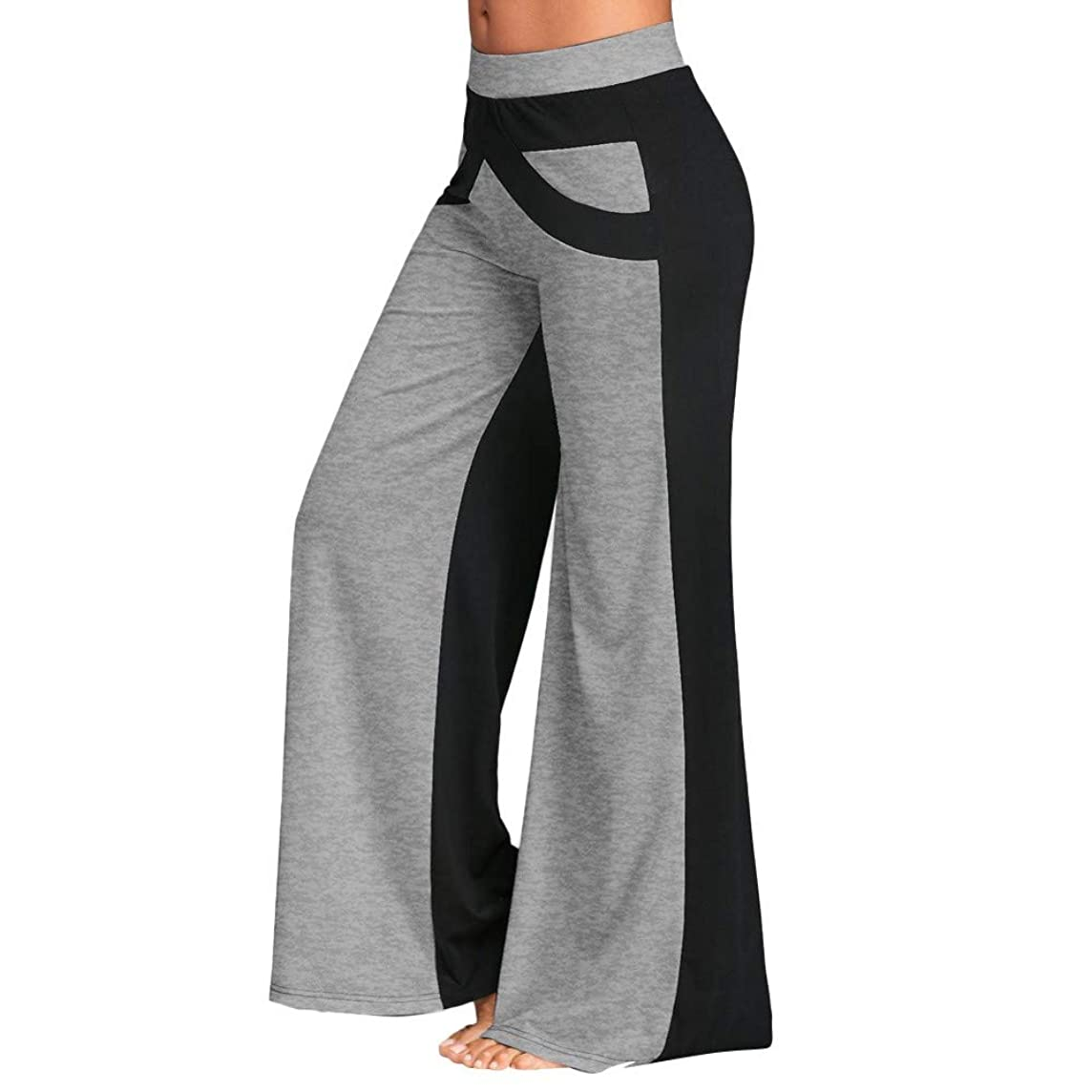 SGMORE ? Boot-Cut Yoga Pants Tummy Control Patchwork Bell Bottoms Flare Trousers Mid Waisted Wide Leg Yoga Pants