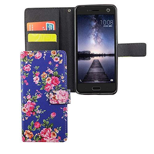 König Design Handyhülle Kompatibel mit ZTE Blade V8 Handytasche Schutzhülle Tasche Flip Hülle mit Kreditkartenfächern - Blumen Muster Violett