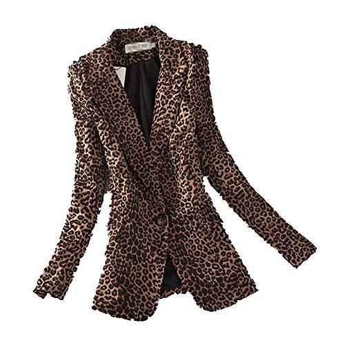 HOSD 2019 Otoño Nuevo Leopard Traje pequeño Chaqueta Femenina Versión Coreana Sección Larga Moda Slim Un botón Manga Larga Mujeres Blaze