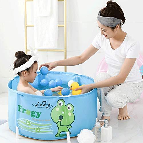 Mlshbt bathtub 40x70cm Student Faltbare Badewannen Folding Badebottich-Kinderwannen Badewanne Thick Kunststoff Baby-Bad Barrel Kinder-Badebottich Blaue Farbe