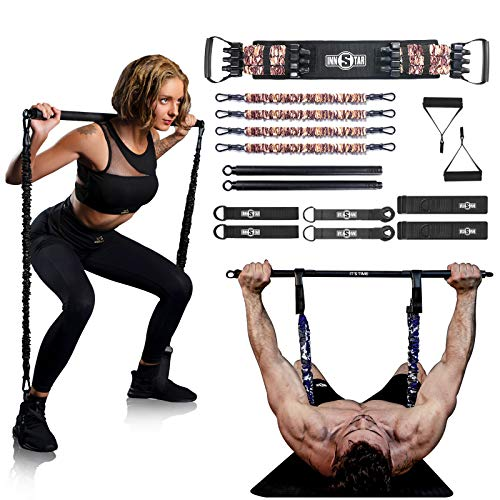 """INNSTAR Resistance Bands Bar Exercise Bands Attachment 38"""" Black Max Load 800lb for Home Gym Workout Full Body Workout Power Lifting Fitness Bar (Portable Gym 3.0- Camo Brown)"""