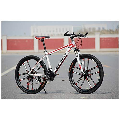 COSCANA Bicicleta De Montaña De 26', Bicicletas De Horquilla con Suspensión De Acero con Alto Contenido De Carbono, Frenos De Disco Dual De 21-27 VelocidadesRed 2-24 Speed