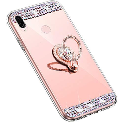 Uposao Kompatibel mit Huawei Y9 2019 Handyhülle Strass Diamant Kristall Bling Glitzer Glänzend Spiegel Schutzhülle Mirror Case Silikon Hülle Tasche mit Ring Halter Ständer,Rose Gold