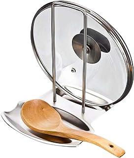 Soporte para tapa de olla y estante para cucharas, estante multifuncional de acero inoxidable, organizador de tapa de sartén, herramienta de decoración de cocina (18 x 15 x 20 cm)