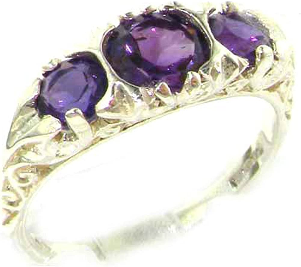 925 Sterling Silver Real Genuine Band Ring Be super welcome Womens Amethyst Challenge the lowest price of Japan