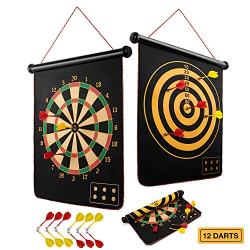 BATURU Magnetic Dart Board for Kids, Boy Toys Dart Board Games for Kids Ages 4-8 Birthday Christmas, Indoor Outdoor Dart Games with 12pcs Magnetic Darts (Traditional)