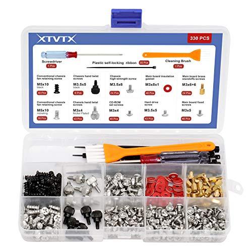XTVTX 330 piezas Kit de juego de separadores de tornillos para computadora pc Para disco duro de placa base Caja de la computadora Potencia Con mini destornillador Y un cepillo de limpieza