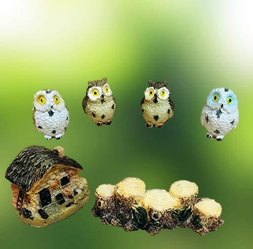 Resin Miniature Owls Kits, 4 pcs Mini Cute Owls & House Figurines, Fairy Garden Ornament Accessories Supplies Animals for Fairy Garden, Micro Landscape, Plant Pots, Mini Dollhouse, Bonsai Craft Decor