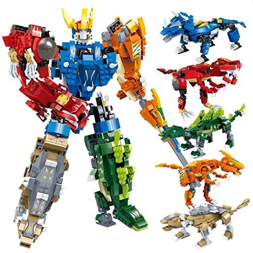 GUDI Confezione da 5 Kit 2 in 1 per Costruire Dinosauri o guerrieri. 5 Diversi Dinosauri o guerrieri, o Un Grande Robot.