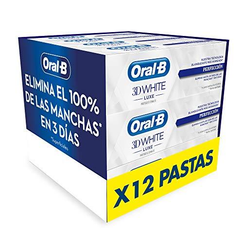 Oral-B 3DWhite Luxe Perfección Pasta de Dientes Blanqueante, Pack de 12, Dientes más Blancos y Aliento Fresco (12x75 ml)