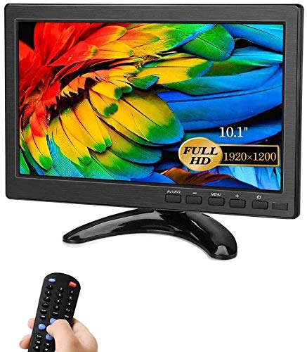Security Monitors 10.1 Inch LED Monitors HDMI/BNC/AV/VGA/USB Input 1920x1200 IPS Resolution Touch Buttons Video and Audio Displays CCTV Screen