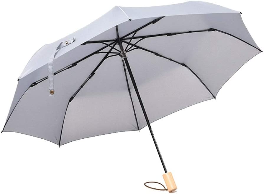 Color : Gray AZZ Solid Wood Handle Folding Umbrella,Compact Folding Umbrella Automatic Open//Close Umbrella,Reinforced 8 Ribs for One Handed Operation Portable Fast Drying Umbrella