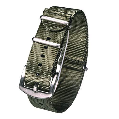 16mm/18mm/20mm/22mm/24mm in nylon Nato Cinturino di un pezzo comodo cinturino di pelle-friendly e indossabile Verde (argento), 18mm