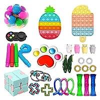 30 PCSシンプルな感覚のフィジットのおもちゃセット、フィジットパック安い、シンプルなディンプルフィジットのおもちゃ箱、ストレスリリーフキット子供大人のための強力な不安ツール (Color : D-30pcs)