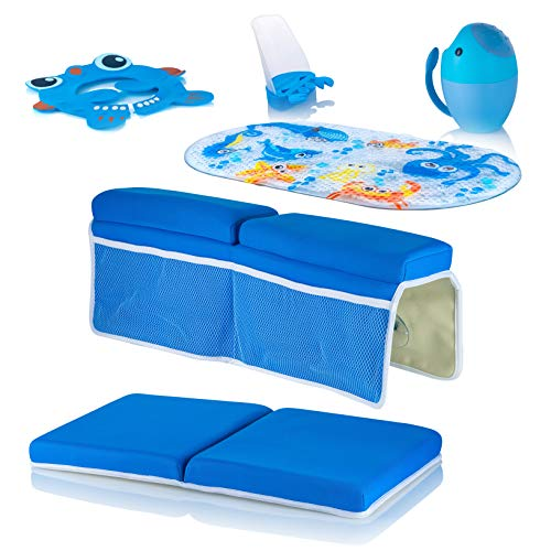 HipVita Bathtub Set for Children - A Set of Six Must Have Baby Children Essentials, Baby Shower Cap Bathing Cap, Spout Cover, Bath Kneeler, Elbow Pad, Waterfall Rinser, Bath Mat