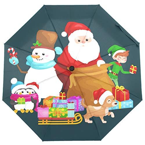 ISAOA Automatischer Reise-Regenschirm, zusammenklappbar, Weihnachtsmann Geschenke, Schneemann, Schlitten, Weihnachten, Neujahr, leicht, kompakt, Winddicht