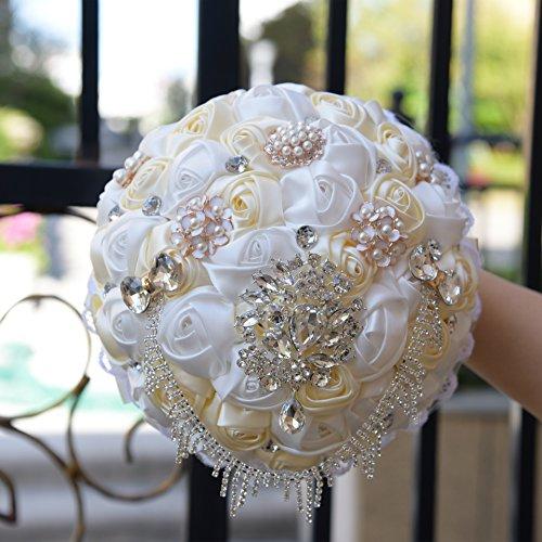 Quibine Bouquet Artificiel Rose Satin Cristal orné Perle Rhinestone Strass Chaîne pour Mariée Demoiselles d'honneur, Blanc + Crème