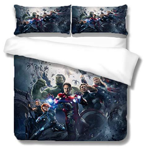 XWXBB Marvel's The Avengers - Set di biancheria da letto morbido e confortevole, copripiumino in microfibra, adatto per tutte le stagioni, regalo per bambini (NO5, King240 x 220 cm)