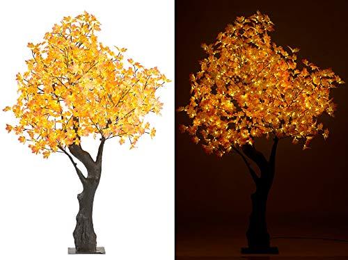 Luminea LED Deko Baum: LED-Deko-Ahornbaum, 576 beleuchtete Herbstblättern, 200 cm, für innen (Dekobaum)