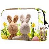 Regali per uomo Donna Borsa per trucco Borsa da toilette Piccola borsa per cosmetici - Conigli di zucchero di Pasqua Uova Fiori