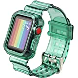 Hisri iWatch Band Strap with Rugged Bumper Protective Case Compatible with Apple Watch 44mm 42mm 40mm 38mm, iWatch Series 5/4/3/2/1 (Pine Green, 38mm/40mm)