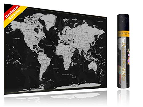 FlyHigh XXL Weltkarte Poster zum Rubbeln in Deutscher Sprache (80x56 cm) inklusive Klebesticker, Kratzwerkzeug und Mikrofasertuch (Silber)