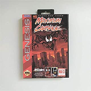 Game Card Spider-Man and Venom - Maximum Carnage - USA Cover With Retail Box 16 Bit MD Game Card for Sega Megadrive Genesis