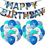 Globos de Pescados Hilloly 33 PCS Animales Mar Globos Globos Peces Decoración de Fiesta de Cumpleaños de Mar Azul Con Tiburones, Delfines, Ballenas Pescados Globos Para Fiestas de Cumpleaños