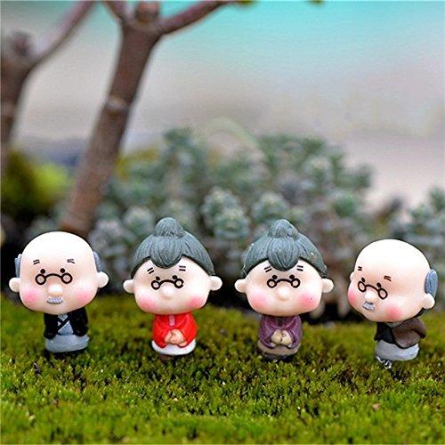 4x Milopon Mini Gartendeko Micro Landschaft Deko Miniatur Großeltern Alter Mann aus Harz für Puppenhaus Puppenhausmöbel Gartenmöbel Deko Garten