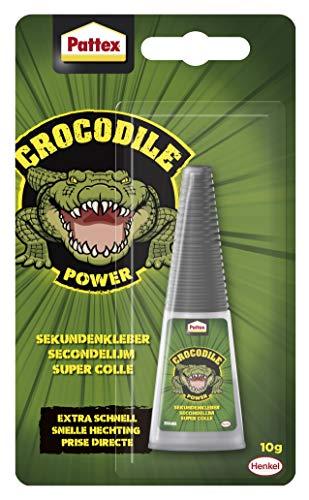 Pattex Crocodile Power Sekundenkleber, extra starker Superkleber, schnelltrocknender Alleskleber für Metall, Holz und mehr, wasserabweisend und transparent, 1 x 10g