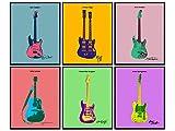 Guitar Wall Decor - Jimi Hendrix, Stevie Ray Vaughan, Eric Clapton, Springsteen, Lennon - Andy Warhol, Pop Art Wall Art Poster Set -8x10 Modern Wall Art Prints - Music, Guitar Gifts for Men, Musicians