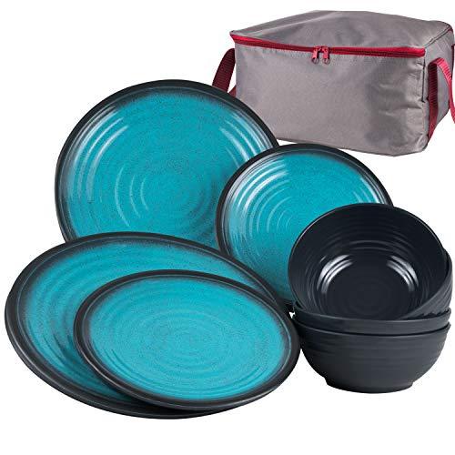 Melamin Geschirr Set Blau 13 Teile mit Aufbewahrungstasche - 4 Personen Essgeschirr Campinggeschirr Picknick für Camping Teller Schüssel Schale Melamingeschirr Tafelgeschirr mit Reißverschluß Tasche