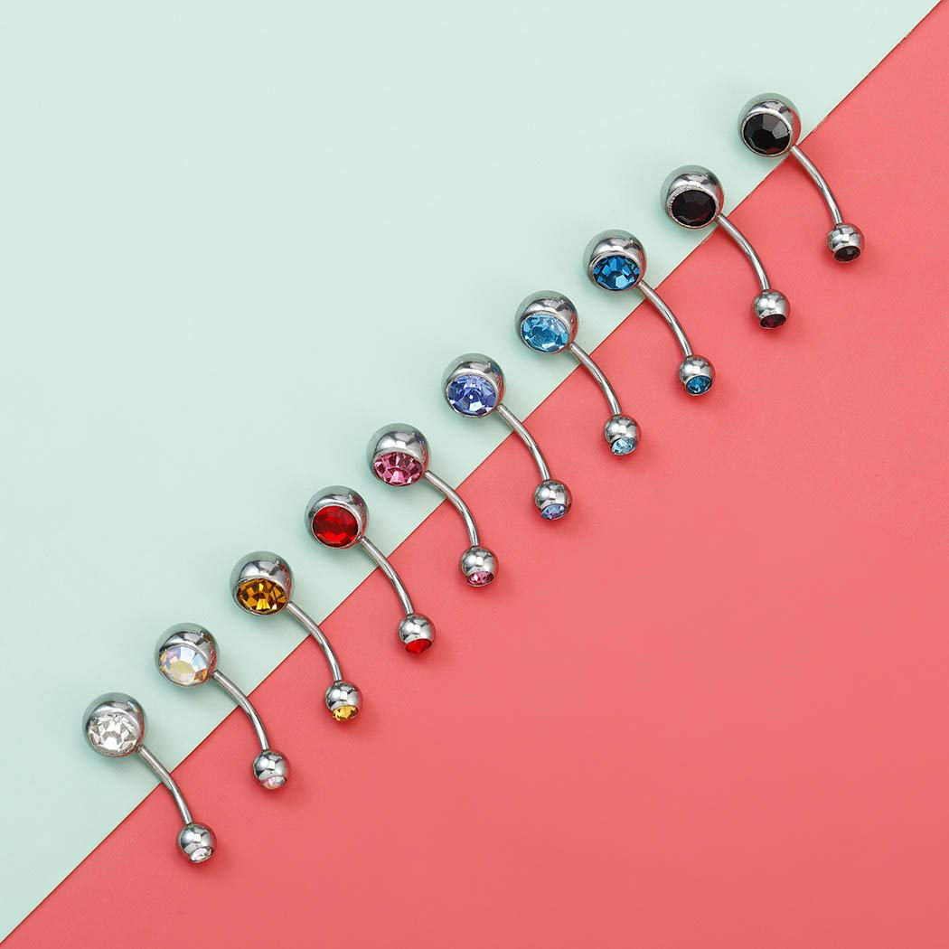 Zoestar Colorful Belly Button Rings 10 Pcs Crystals Tainless Steel Navel Ring Fashion Navel Body Piercing Jewelry for Women