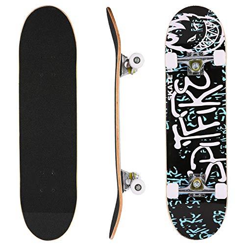 Hikole Skateboard, Komplettboard, Skateboard aus Holz, 79 x 20 cm, kanadisches Ahorn, 31 Zoll, 90 A Rollen für Anfänger, Kinder und Erwachsene