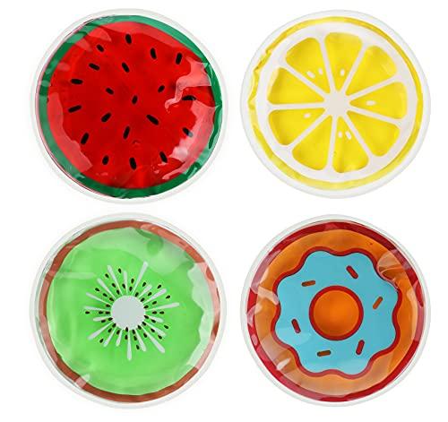 Adorfine 4 Stück Kinder Gel Kühlpads Kalt Warm Kompresse, Obst-Donuts Kühlkissen Kühlakku Wiederverwendbare Kühlbeutel für Kinder Weisheitszähne, Fieberkühlung, Verletzungen