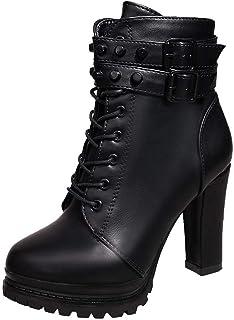 Zapatos de Tacón Alto Botas Mujer Invierno Botas Cuero con Cordones Zapatos de Punta Redonda Cómodas Mujeres Botas Cortas ...