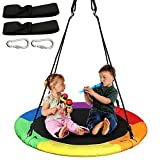 40' Rainbow Saucer Tree Swing for Kids, Waterproof Swing Seat with 2 Tree Hanging Straps for Playground Backyard Outdoor Activity