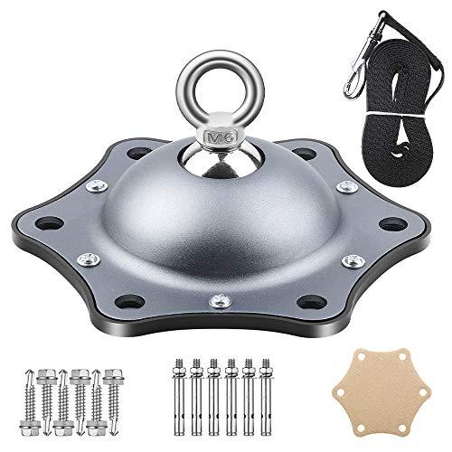 BIGWING Style Anlegepflock Für Hunde,Mit 3M Tie-Out Leinen,12PCS Nagel,360 ° Drehung,Bodenanker mit Hundeleine für Draussen und Garten(Grau)