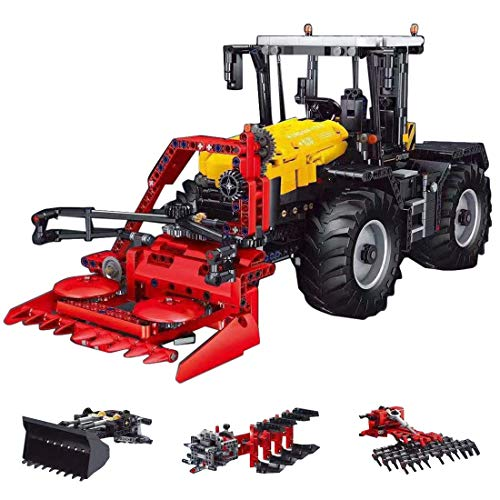 PLEX Technik Traktor Ferngesteuert, 4-IN-1 Bausatz Technik Feldhäcksler Modell mit Fernbedienung und Motors, 2596 Teile Klemmbausteine Bauset Kompatibel mit Lego Technik