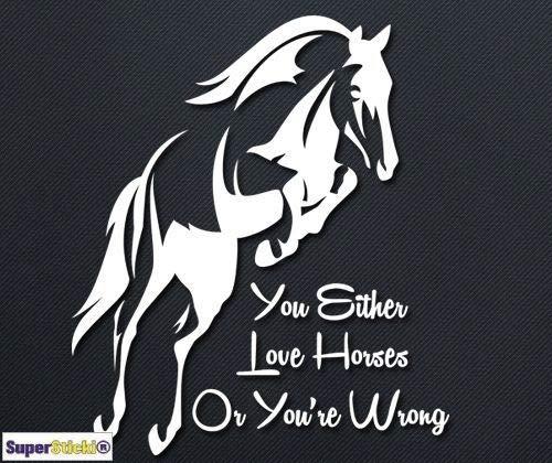 SUPERSTICKI You Either Love Horses or Youre Wrong ca.20cm Tuning JDM Hobby Decal Sticker Aufkleber, Autoaufkleber,Sticker für Scheibe,Lack,Laptop,Wandtattoo aus Hochleistungsfolie, Profi-Qualität