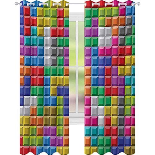 Termiska isolerade mörkläggningsgardiner, färgglada retro speldator tegelblock bild pussel digital 90-talslek, B 52 x L95 öljettgardiner för fönsterbehandling, flerfärgad