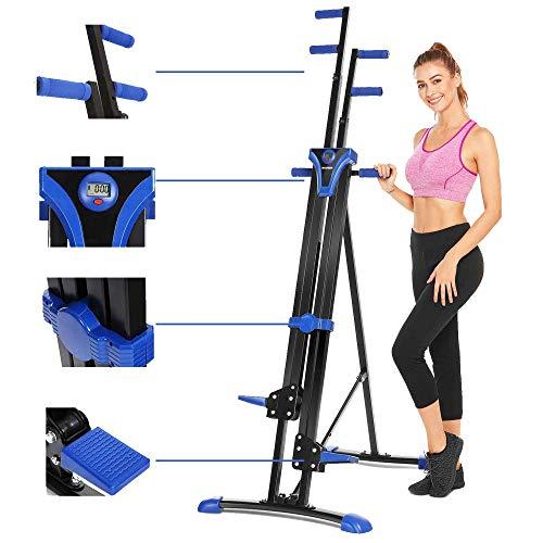 Aceshin Vertical Climber Machine, Home Gym Exercise Folding Climbing Machine,Indoor Vertical Climbing Exercise Machine, Fitness Stepper for Whole Body Cardio Workout Training (Blue)