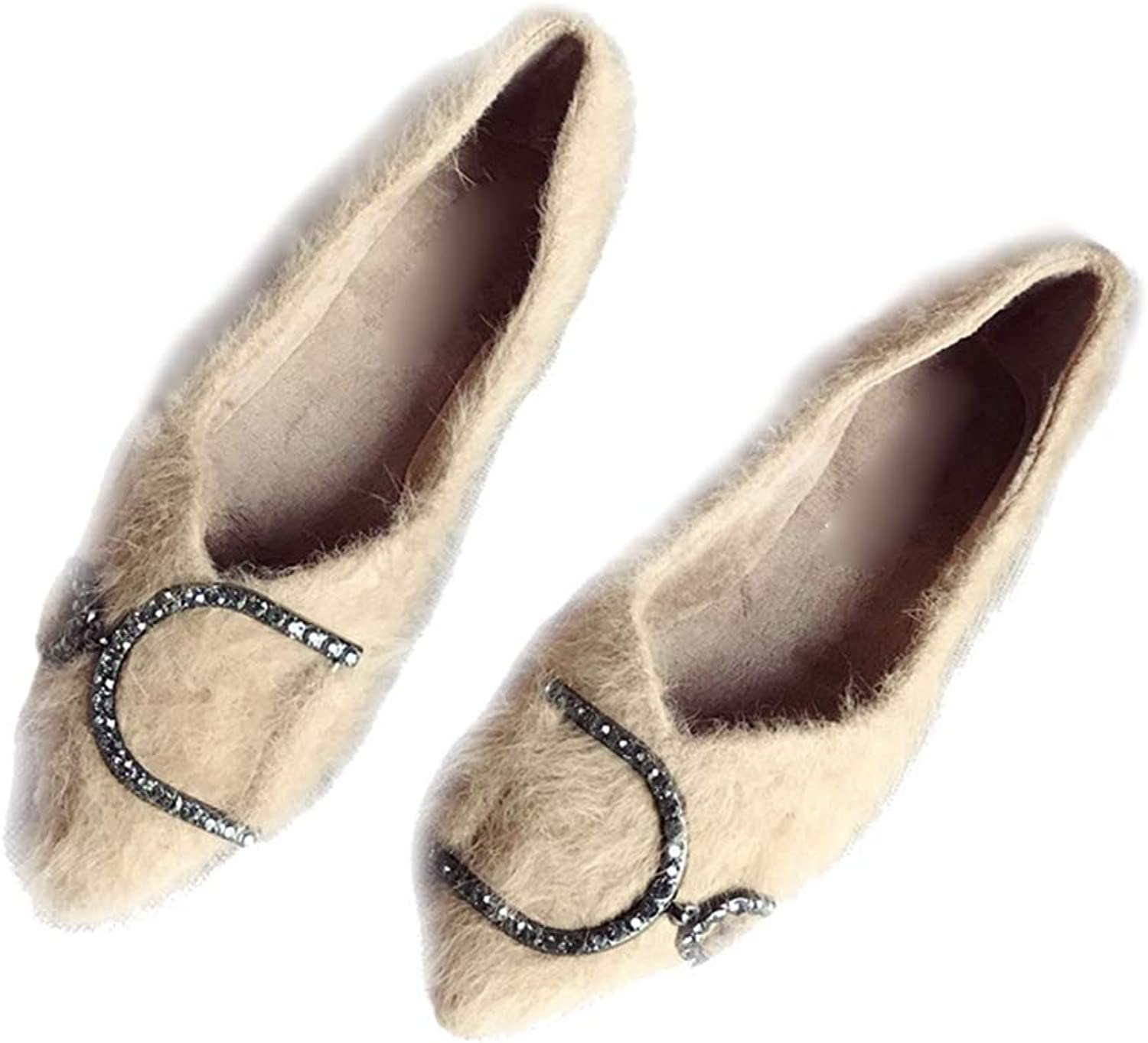 August Jim Womens Winter Flats shoes,Pointy Toe Ballet Slip On Faux Suede Fuzzy Loafers