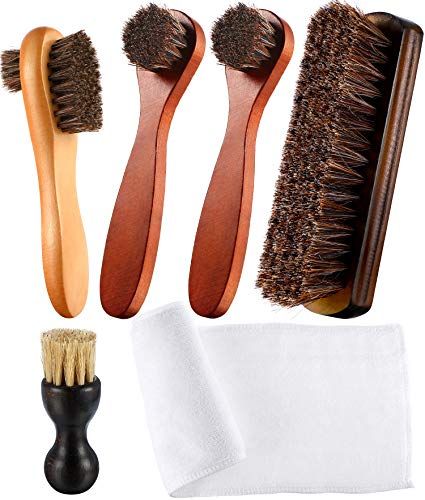 Youngjoy 6 Pieces Horsehair Shine Shoes Brush Kit Polish Dauber Applicators (B)