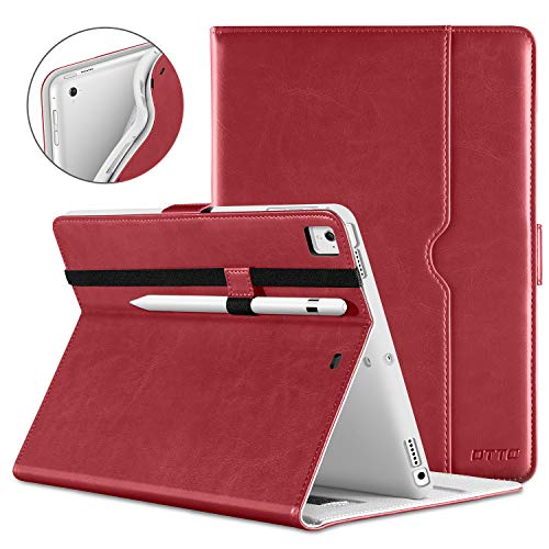 DTTO iPad 9.7 Inch 5th/6th Generation 2018/2017 Case with Apple Pencil Holder, Premium Leather Folio Cover Case for Apple iPad 9.7 inch [Auto Sleep/Wake], Also Fit iPad Pro 9.7/Air 2/Air - Red