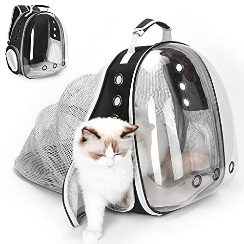 YUDOXN Mochila para Mascota.Mochila Gato y perros Extensible.Bolso Cápsula Espacial Mochila para Gatos Perros, Mochila portátil para Transportar para Gatos y Perro. (NEGRO)