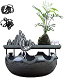 MissZZ Tabletop Fountain Feng Shui Lucky Decoration Desktop Fountain with Pump Fish Tank Ceramic Rockery Waterfall Water Landscape Office Desktop Humidifier Household Gifts Tabletop Fountains (Col
