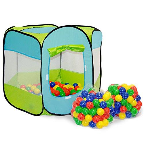 LittleTom Bällebad Zelt 200 Baby Bälle Spielzelt 100x100x72cm Popup Spielhaus