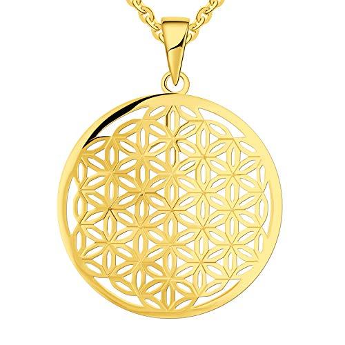 JO WISDOM Damen Kette Lebensblume Silber 925 Halskette Anhänger Blume des Lebens Amulett mit Gelb Vergoldet